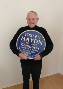 Denis McCaldin with the Haydn plaque